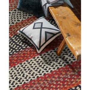 Capel Rugs Drifter Cross Sewn Wool Blend Spice Red Multi Country Braided Rug