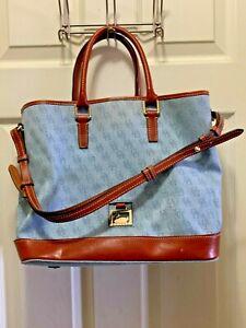 Dooney Bourke DM Denim Leather Monogram Satchel Tote Bag Purse