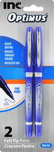 New Inc Optimus Felt Tip Pens Fine Point, 1 pack of 2 Pens ~ Optimus ~ Blue Ink
