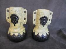 H2 Vintage Art Pottery Pair Handled Vase - Yellow & Black Crackle Unique Design
