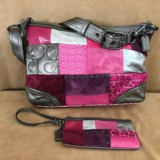 Coach convertible Holiday Patchwork Large Duffle shoulder bag & wristlet F12865