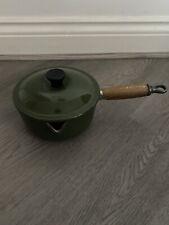 VINTAGE Le Creuset Casseruola con Coperchio Ghisa & Smalto Green Round 16cm
