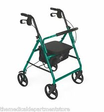 Medline Rollator Rolling Wheeled Walker 4 Wheel w/ Seat Foldable MDS86850EGS