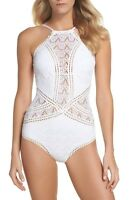 Becca High Neck Crochet One-Piece Swimsuit White M Medium