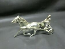 VINTAGE METAL HARNESS RACING JOCKEY & HORSE STATUE - OCCUPIED JAPAN
