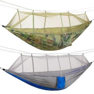 Double Hanging Hammock Outdoor Travel Garden Swinging Camping Mosquito Net Tent
