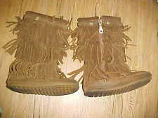 Minnetonka Moccasins Boots sz 12 #2658 3-Layer Fringe Brown Suede Girls Kids