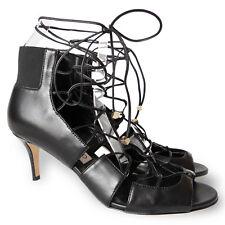 NEW $1085 JIMMY CHOO Myrtle Nappa Lace-Up Open-Toe Sandals - Black - Size 37