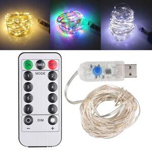 USB Plug In 50/100/200LED Fairy String Lights DIY Micro Copper Wire Xmas Decor