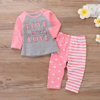 2PCS Toddler Kids Baby Girl T-shirt Tops+Long Pants Trousers Outfits Set Clothes