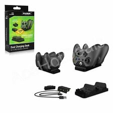 Xbox One Dual Charging Dock Controllers Charger + 2 Rechargeable Batteries