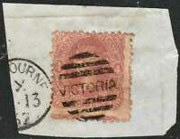 VICTORIA 1860-62 Beaded Oval Wmk FIVE SHILLINGS 4d Dull Rose sg92d tied to piece