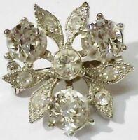 broche bijou vintage petite fleur étoilé cristaux diamant couleur argent * 5344
