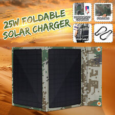 25W 5V Foldable Poly Solar Panel Kit Charger For Outdoor Camping Dual USB Output