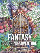 Fantasy Adventure Adult Colouring Book Enchanted Magic Animals Whimsical Dragon