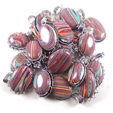 Wholesale Lot !! 50 PCs Rainbow Calsilica Gemstone Silver Plated Pendant Jewelry