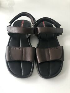 Prada Authentic Mens Brown Leather Gladiator Style Summer Smart Sandals Size 6.5
