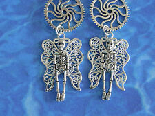 "HANDMADE Steampunk Goth Style Silver  3"" SKULL  & Wings Earrings .925 HOOKS"