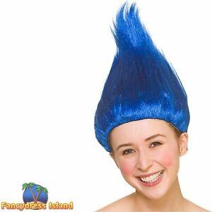 Troll Wig Bright delux Blue Colour Festival Elf Cosplay Cartoon Fancy Dress