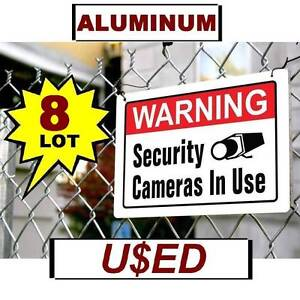 8 USED ALUMINUM Warning Home Store Security Camera In Use 10x14 METAL Yard Sign