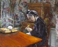 Gustave Caillebotte Mademoiselle Boissiere Knitting Fine Art Print Canvas Repro