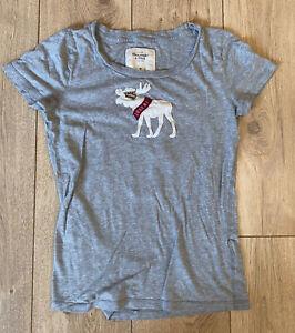 Abercrombie & Fitch Women's T Shirt Grey Short Sleeve Medium 100% Cotton