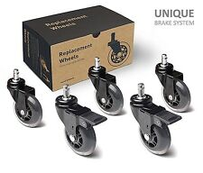 Office Chair Caster Wheels Replacement Set of 5 Heavy Duty & Safe with brakes