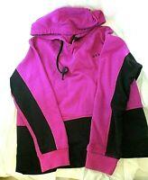 Donna Karan DKNY Ladies Size M Purple Black Cropped Logo Hoodie Sweatshirt