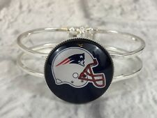 New England Patriots Football Helmet Silver Tone Hinged Cuff Bracelet New Gift