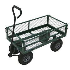 NEW Heavy Duty Metal Green Garden Cart Barrow Utility Trolley - Garden - Home