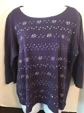 KAREN SCOTT Women's 3/4 Sleeve Embellished Boat Neck T Shirt Purple Size XXL