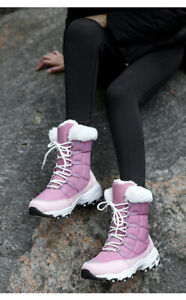Ladies Women Winter Fur Lined Ankle Boots Lace Up Low Flat Heel Shoes Snow Boots