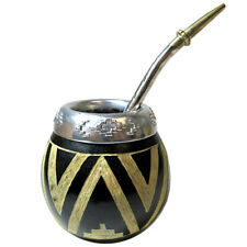 ARGENTINA MATE GOURD YERBA TEA WITH STRAW BOMBILLA KIT ARTISAN HANDMADE NEW 9374