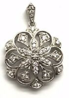 Sterling Silver 925 Cubic Zirconia CZ Cluster Floral Swirl Loop Elegant Pendant