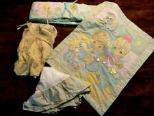 pre-owned 4 Pc Baby Nursery Crib Set quilt bumper fitted sheet yellow boy girl