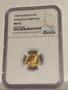 1903 LA Purchase McKinley Gold Dollar NGC MS62