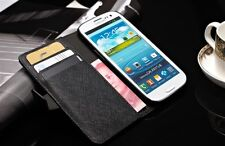 Samsung I9300 Genuine Leather opal card multi function Flip Over Case Protector