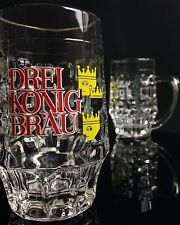 Lot of 2 Vintage German Glass Beer Mugs DREI KONIG BRAU