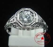 5mm Round Graded Cubic Zirconia Vintage Antique Wedding Ring Sterling Silver 925
