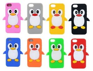 Cute Penguin Silicone Soft Phone Case Cover FOR IPHONE 5/5S/SE UK FAST FREE POST