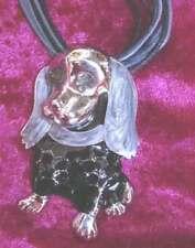 COLLIER cordon grand  PENDENTIF CHIEN COCKER ou TECKEL émaillé GRIS NOIR DOG