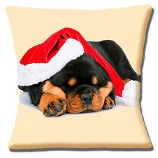 "CUTE ROTTWEILER PUPPY DOG SANTA HAT CHRISTMAS 16"" 40CM CUSHION COVER CREAM MULTI"