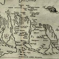 Africa north coast Libya Sicily Sardinia sea monster 1599 Ruscelli map Rosaccio