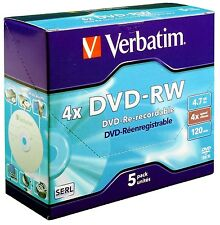 100 DVD-RW VERBATIM 4X jewel case PZ DVD -RW 43285 REWRITABLE RESCRIVIBILI