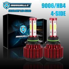IRONWALLS 4 Side 360° 9006 HB4 LED Headlight Low Beam Fog Bulb Kit 2500W 6500K