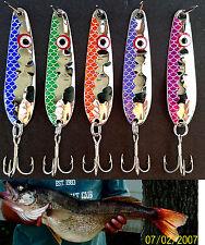 """(5)Thin HEX  .016 2 1/4"""" Trolling Flutter Spoons Fisheye Scale  Walleye Candy"""