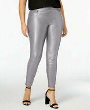 (NWT) Hue Women's Plus Size 2X Gray Filament Faux Leather Leggings