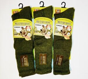 Mens Army Long Military Thermal Warm Thick Winter Socks Olive Size 6-11 3 Pairs