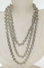 """Monet Necklace Silver Tone Thick Cable Link Chain Rope length 48"""" Vintage"""