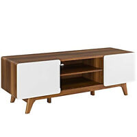 "59"" Mid Century Modern LED LCD DLP HD TV Stand Credenza Media Walnut White"